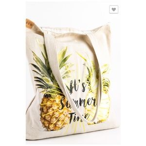 Pineapple It's Summer Time Beach Tote Shoulder Bag